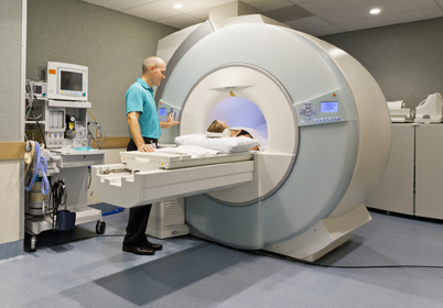 doctor and patient during MRI scan